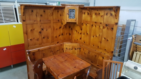 Holz, Tisch, Sessel, Bank, Holzverbau, Bauernstube,