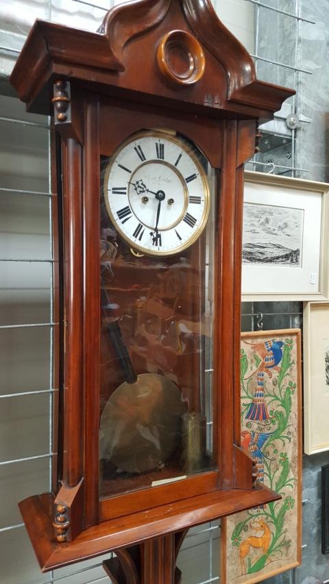 Uhr, Wanduhr, Holz, Braun, Pendeluhr,