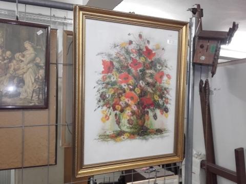 Bild, Vase, Leinen, Blumen, Bilderrahmen, gold,